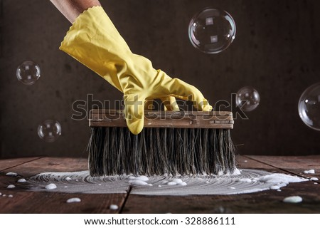 Hand Rubber Glove Scrubbing Wooden Floor Stock Photo Royalty Free