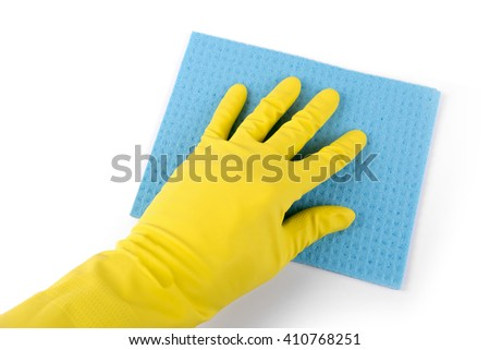 hand in rubber glove with blue sponge isolated on white - stock photo