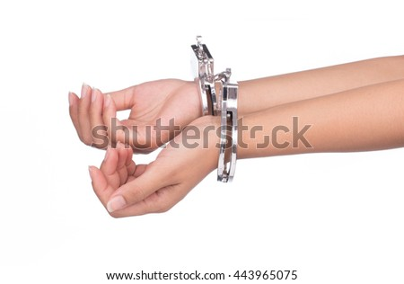 hand in shackle isolated on white background