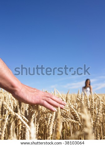 Hand in wheat field with woman in background - stock photo