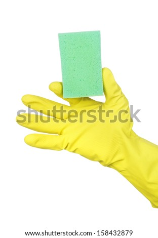 Hand in yellow glove with green sponge isolated on white background