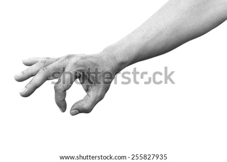 hand index thumb picking isolated on white with path black and white version
