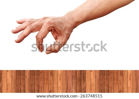 hand index thumb picking over wood fence isolated on white with path - stock photo