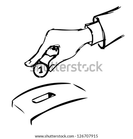 Hand inserting a coin into a bank. Raster version of the loaded vector.