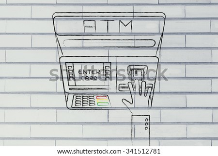 hand inserting credit card into atm slot (flat illustration), concept of money and expenses
