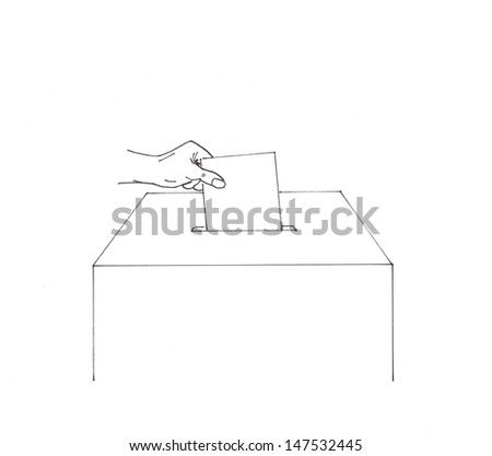 Hand inserting envelope into a ballot box - stock photo