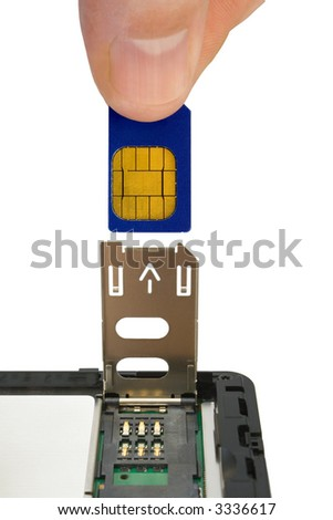 Hand install sim card to mobile phone, close-up, isolated on white background - stock photo