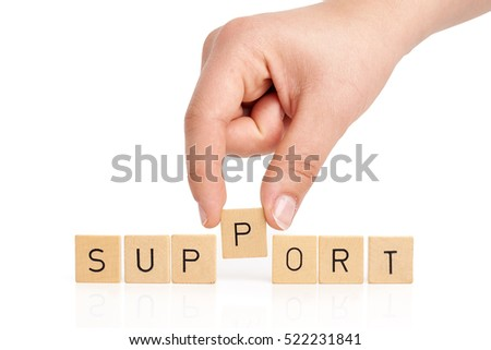 Hand is building the word support on white background