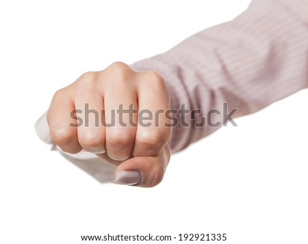 hand is clenched fist, isolated white background