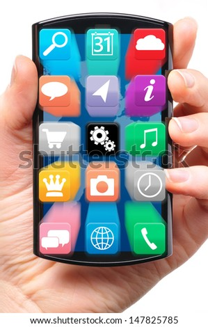 hand is holding a touch screen smartphone with flying application icons | isolated on white background