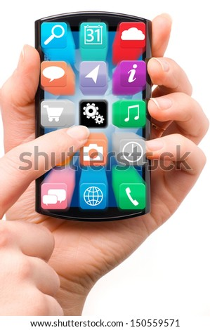 hand is holding a touch screen smartphone with flying application icons | isolated on white background - stock photo