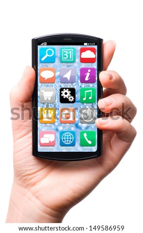 hand is holding a touch screen smartphone with mobile interface, isolated on white background - stock photo