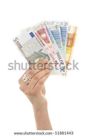 Hand is holding euro money isolated on white background