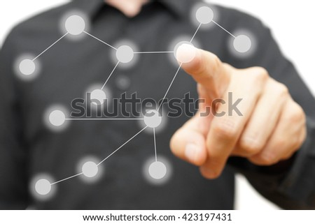 hand is pressing  social connections