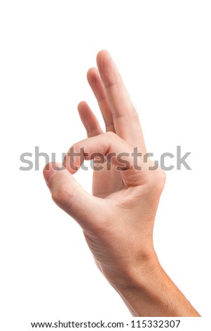 Hand  is showing OK sign isolated on a white background