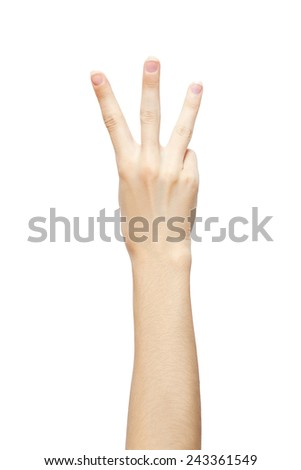 hand is showing three fingers isolated on white background. studio photo - stock photo
