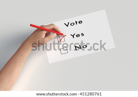 hand is voting with  a pencil isolated on white, 3d illustration - stock photo