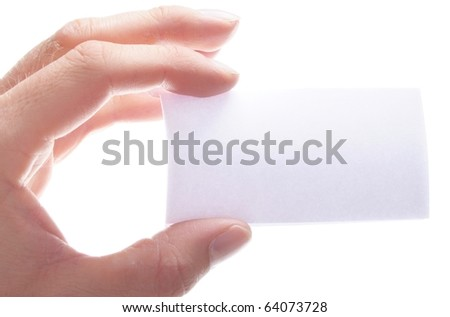 hand isolated on white background with blank or empty sheet paper and copyspace