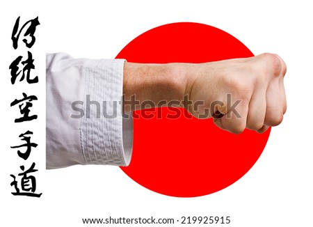 Hand karate master on the background of the Japanese flag on a white background.Character karate - stock photo