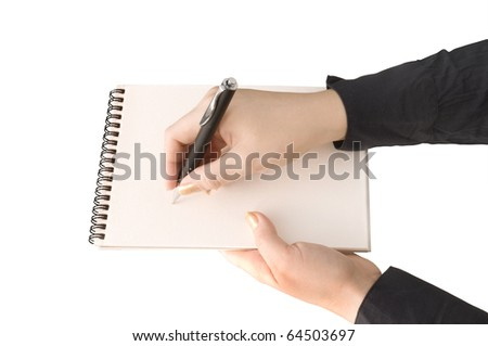 hand keep notebook and other hand keep pen and writing isolated on white