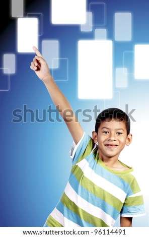 hand kid pushing a button on a touch screen interface - stock photo