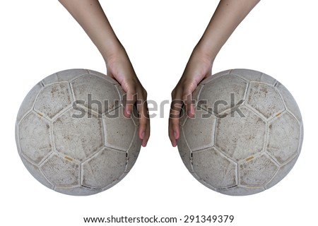 Hand left and right to catch the ball, the two white balls, white background. - stock photo