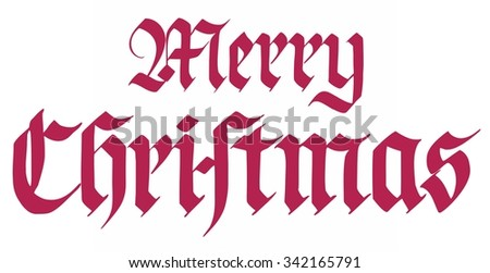 Hand lettering, Merry Christmas, handwritten, isolated on white - stock photo