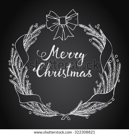 Hand-lettering Merry Christmas with Christmas wreath on black background. Raster version - stock photo