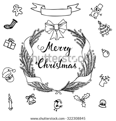 Hand-lettering Merry Christmas with  hand drawn Christmas decoration on  white background. Raster version - stock photo