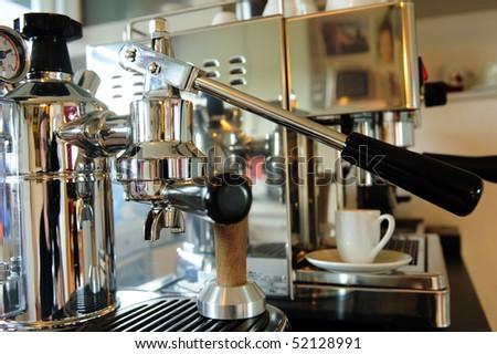 hand lever espresso machine - stock photo
