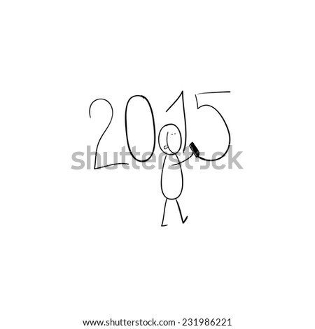 Hand line drawn black and white cartoon funny illustration a man who is writing number two thousand fifteen - stock photo