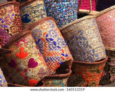 hand made bags on the open market in marrakesh ,Marocco            - stock photo