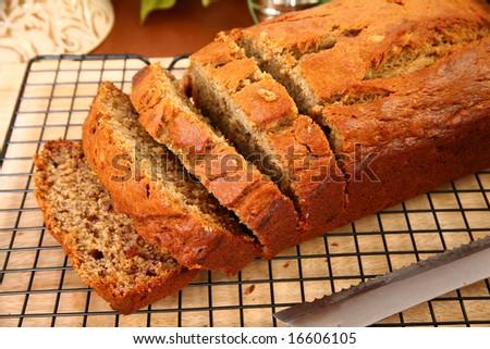 Hand made banana bread in kitchen or restaurant. - stock photo