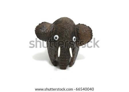 hand made brown elephant doll with white background - stock photo