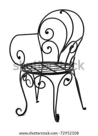 Hand made chair wrought iron - stock photo