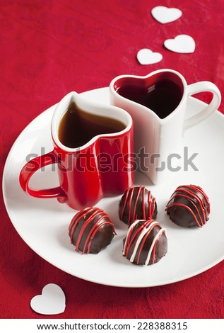 Hand made Chocolate truffle for Valentine Day. - stock photo