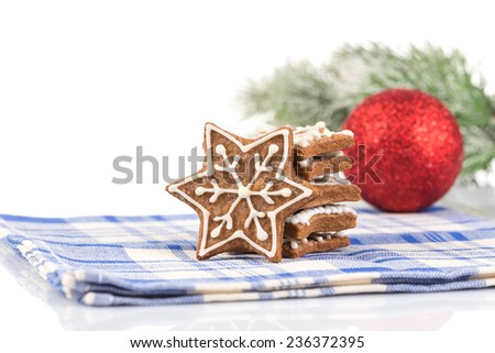 Hand-made Christmas ginger breads isolated on white background - stock photo