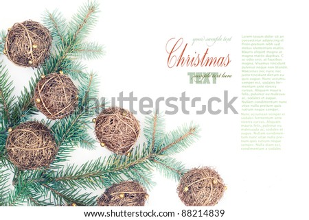 Hand made Christmas ornaments with copyspace - stock photo