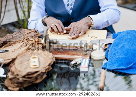 Hand made cigars - stock photo