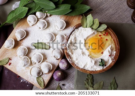hand-made dumplings on the board with flour and ingredients