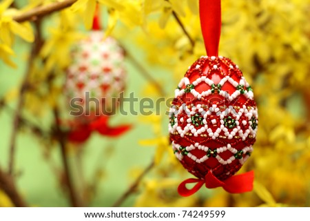 hand-made easter eggs - stock photo