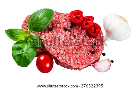 Hand Made From Minced Beef, Pork burgers patties with Basil, garlic, pepper, tomato and sliced red pepper. isolated on white background. - stock photo