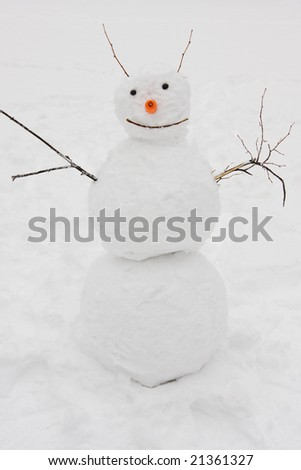 Hand-made funny snowman - stock photo