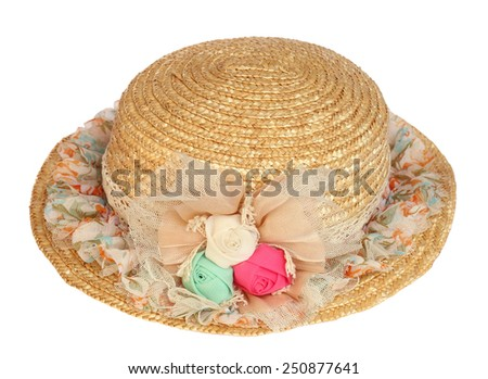 Hand-made  hat bamboo weave decorated with flowers - stock photo