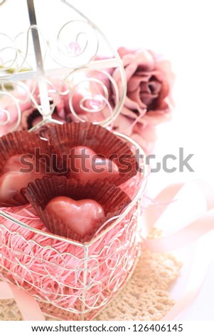 hand made heart shape chocolate in gift box for st valentines day image
