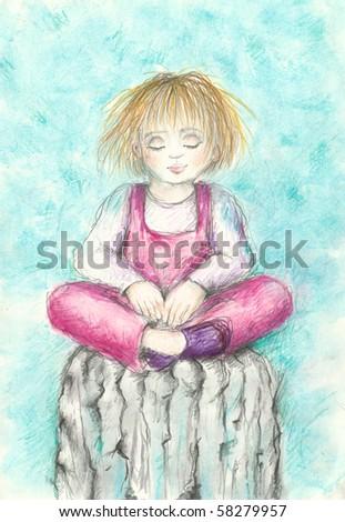 Hand made illustration of girl meditating - stock photo