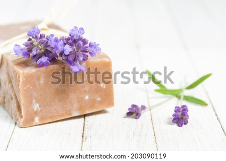 hand made lavender soap on white wood table