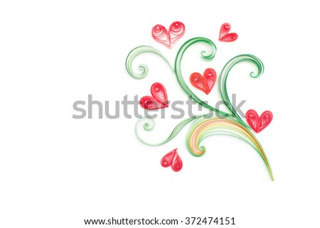 Hand made of paper quilling technique. Valentine's day. Love concept. - stock photo