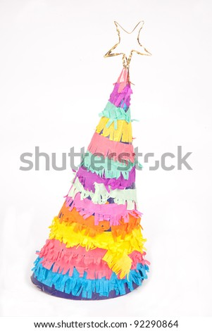 hand made party hat on white - stock photo