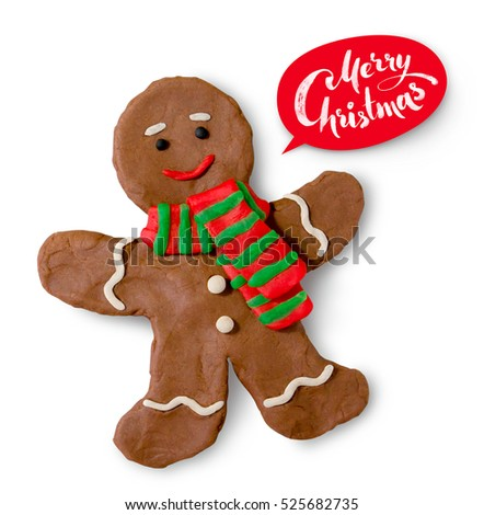 Hand made plasticine illustration of gingerbread man cookie with lettering banner.